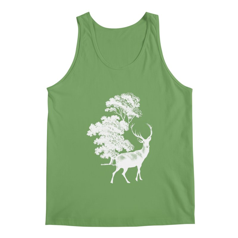 White Vintage Deer Stag in Forest Men's Tank by tanjica's Artist Shop