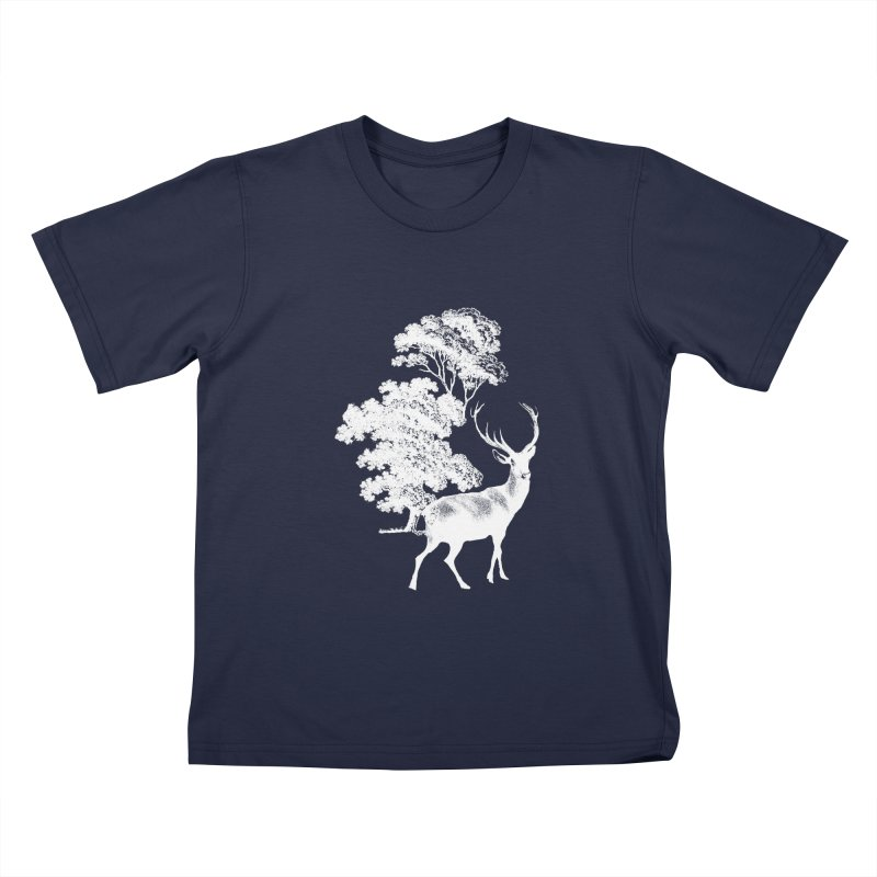 White Vintage Deer Stag in Forest Kids T-Shirt by tanjica's Artist Shop