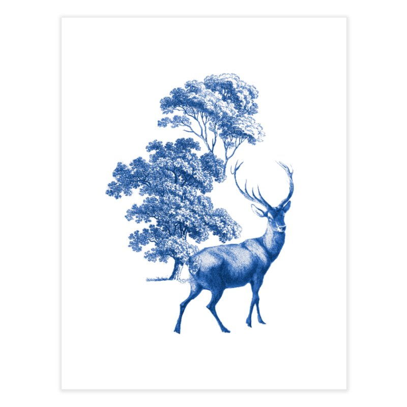 Blue Vintage Deer Stag in Forest Home Fine Art Print by tanjica's Artist Shop