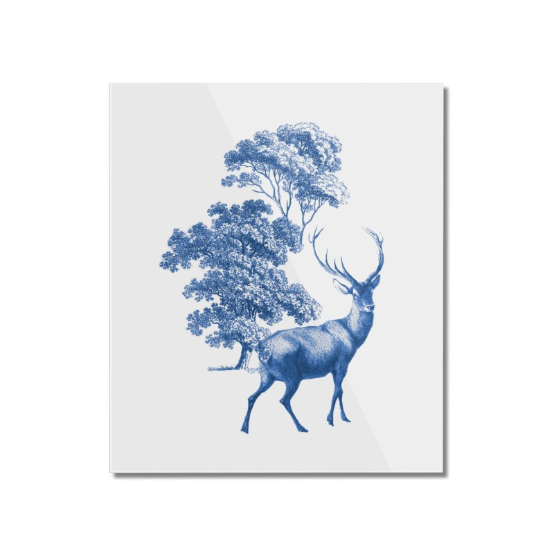Blue Vintage Deer Stag in Forest Home Mounted Acrylic Print by tanjica's Artist Shop