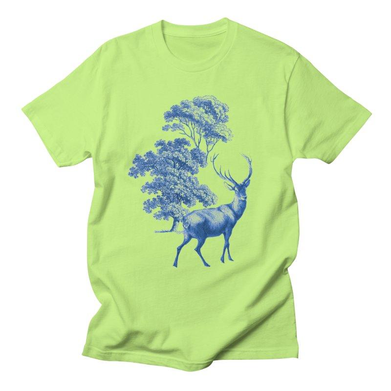 Blue Vintage Deer Stag in Forest Men's T-Shirt by tanjica's Artist Shop
