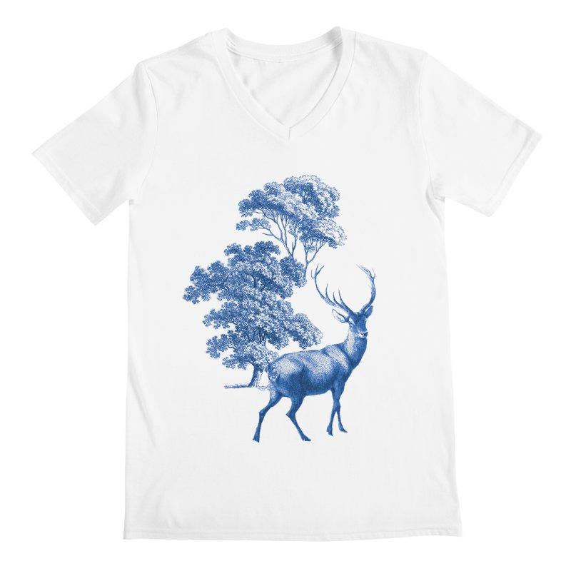 Blue Vintage Deer Stag in Forest Men's V-Neck by tanjica's Artist Shop