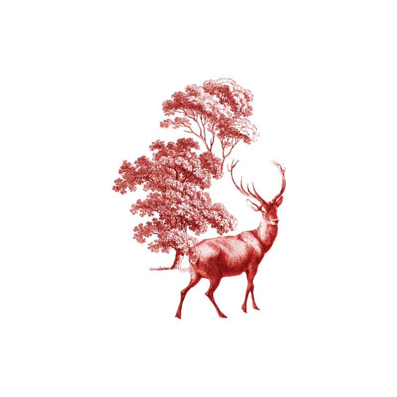Red Vintage Deer Stag in Forest Accessories Magnet by tanjica's Artist Shop