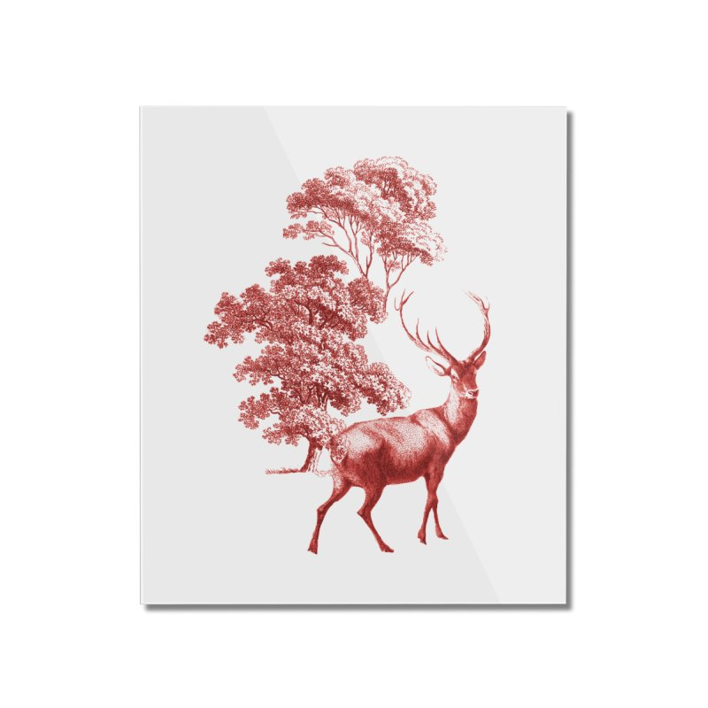 Red Vintage Deer Stag in Forest Home Mounted Acrylic Print by tanjica's Artist Shop