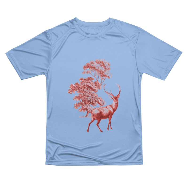 Red Vintage Deer Stag in Forest Men's T-Shirt by tanjica's Artist Shop