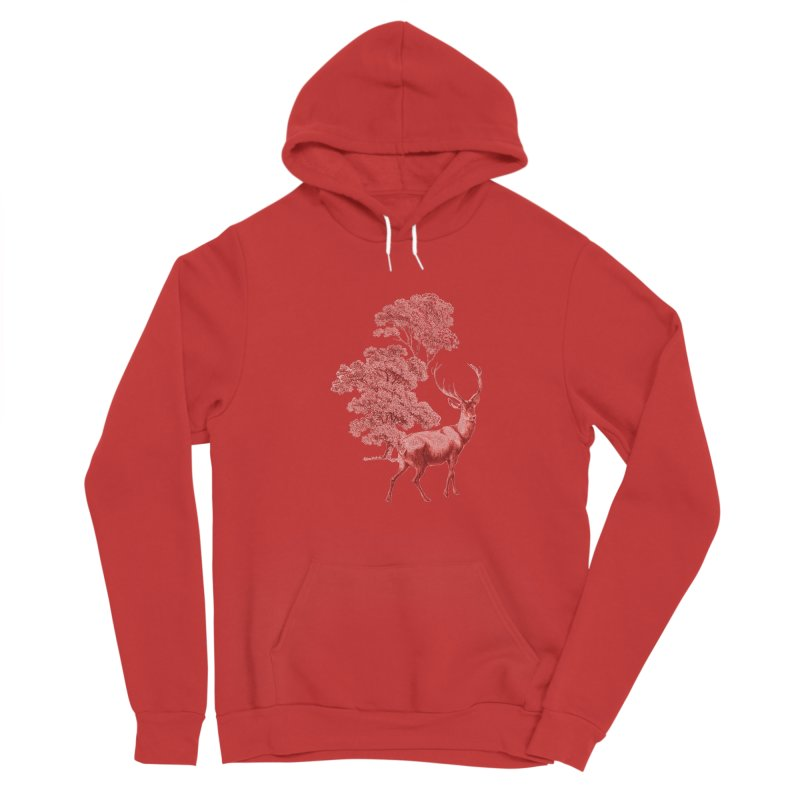 Red Vintage Deer Stag in Forest Women's Pullover Hoody by tanjica's Artist Shop