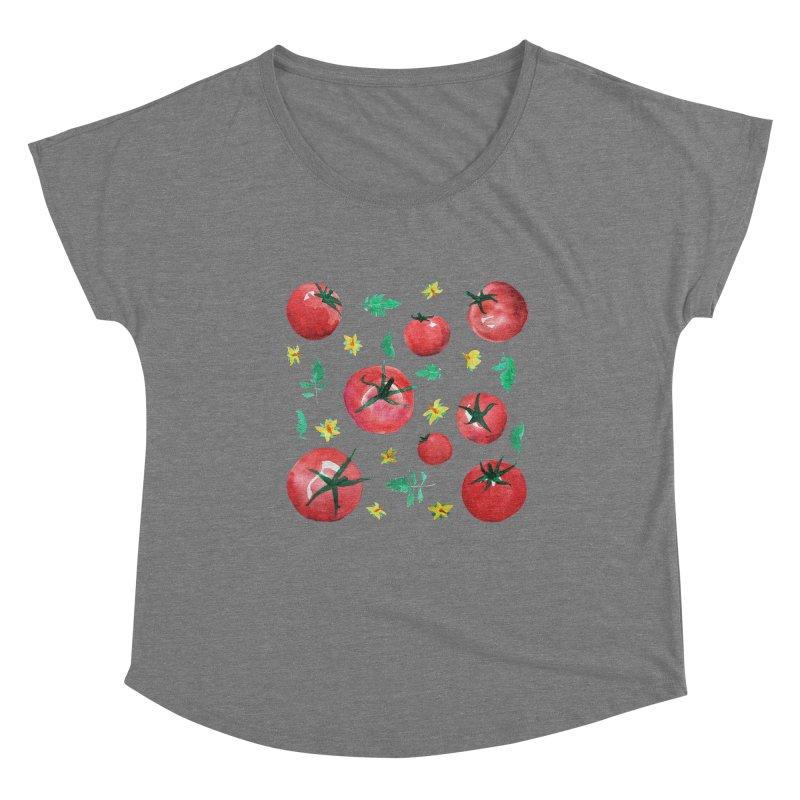 Watercolor Tomatoes Juicy Veggies Women's Scoop Neck by tanjica's Artist Shop