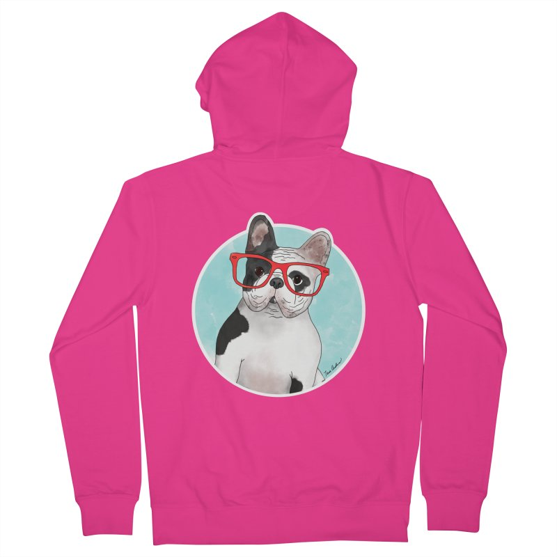 Beau the French Bulldog Men's French Terry Zip-Up Hoody by Tara Joy Andrews