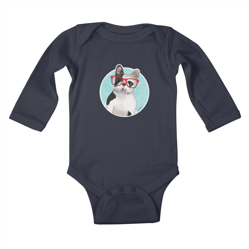 Beau the French Bulldog Kids Baby Longsleeve Bodysuit by Tara Joy Andrews