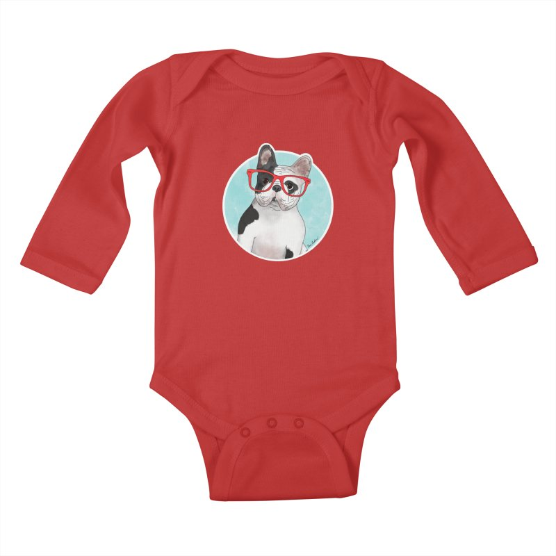 Beau the French Bulldog Kids Baby Longsleeve Bodysuit by Tara Joy Andrews