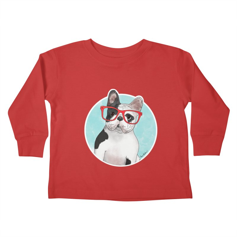 Beau the French Bulldog Kids Toddler Longsleeve T-Shirt by Tara Joy Andrews
