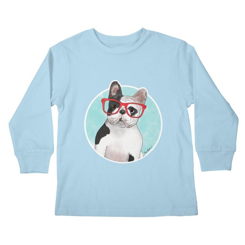 Beau the French Bulldog Kids Longsleeve T-Shirt by Tara Joy Andrews