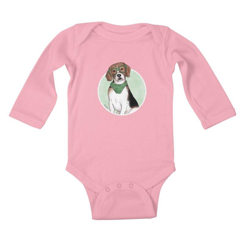 Blake the Beagle Kids Baby Longsleeve Bodysuit by Tara Joy Andrews