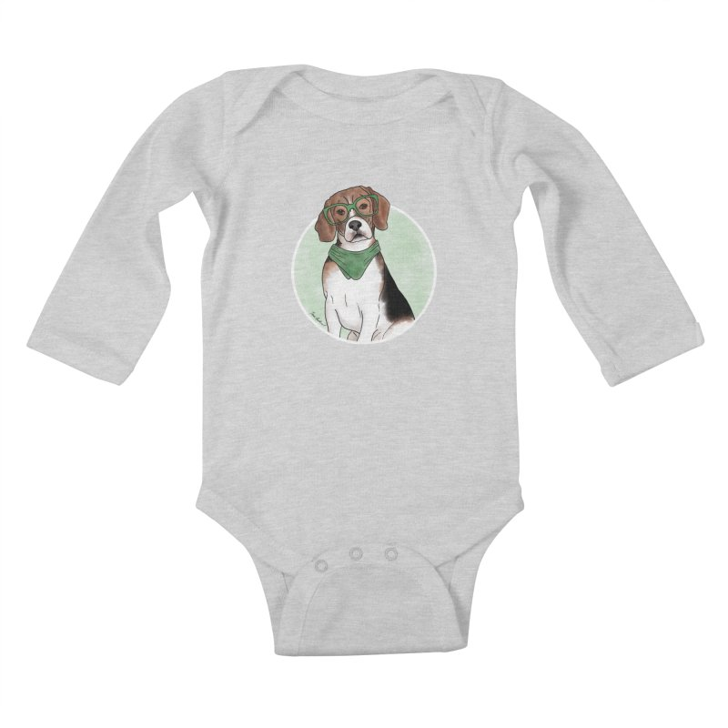 Blake the Beagle Kids Baby Longsleeve Bodysuit by Tara Joy Andrews