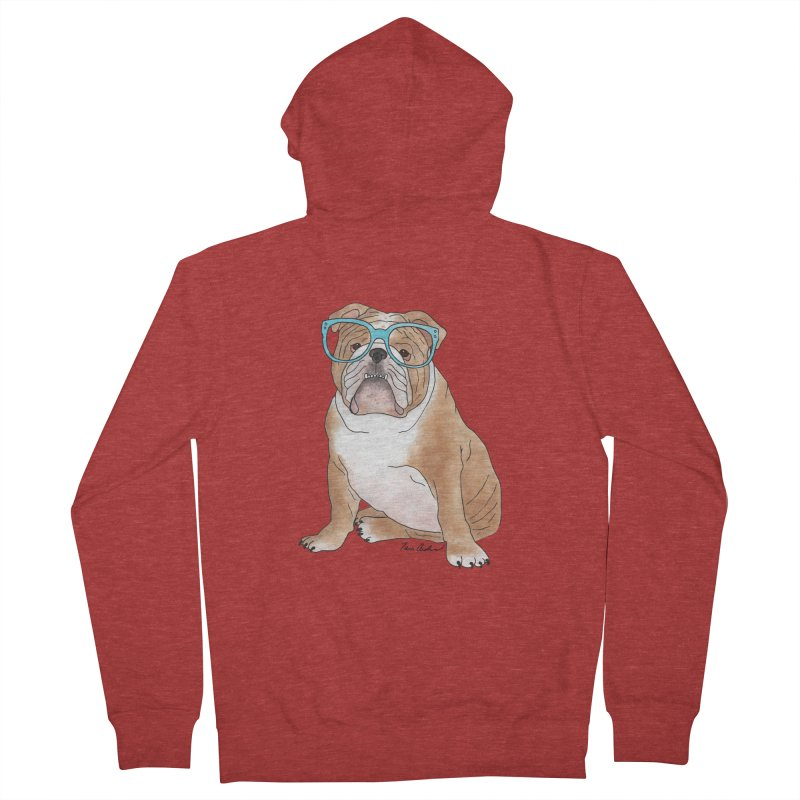 Bruiser the English Bulldog Men's French Terry Zip-Up Hoody by Tara Joy Andrews