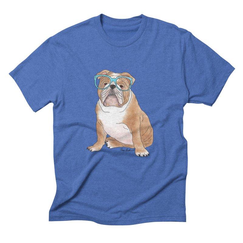 Bruiser the English Bulldog Men's Triblend T-Shirt by Tara Joy Andrews