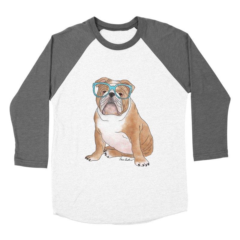 Bruiser the English Bulldog Women's Baseball Triblend Longsleeve T-Shirt by Tara Joy Andrews