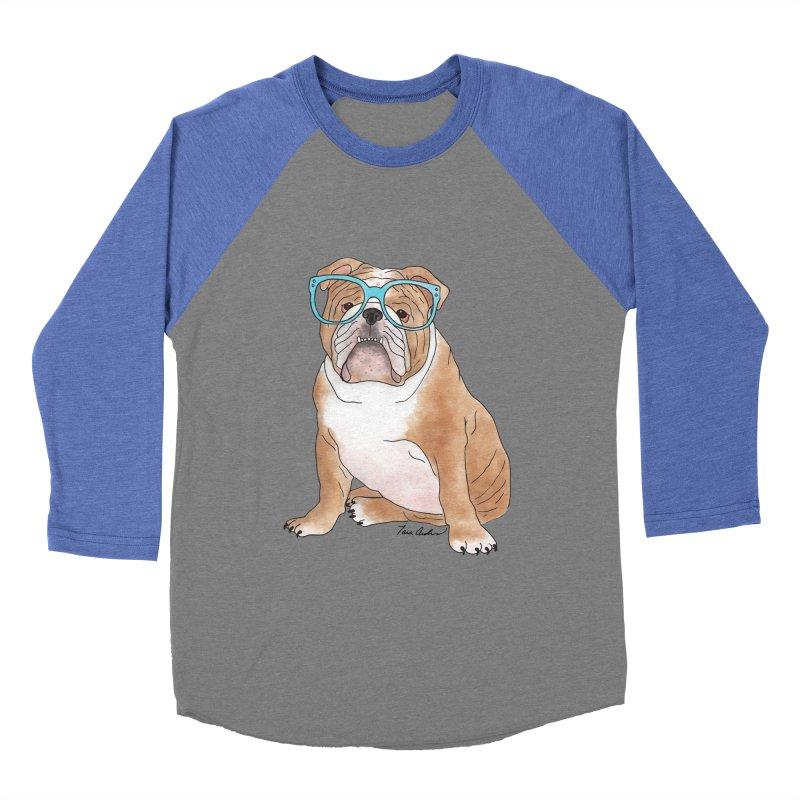 Bruiser the English Bulldog Men's Baseball Triblend Longsleeve T-Shirt by Tara Joy Andrews