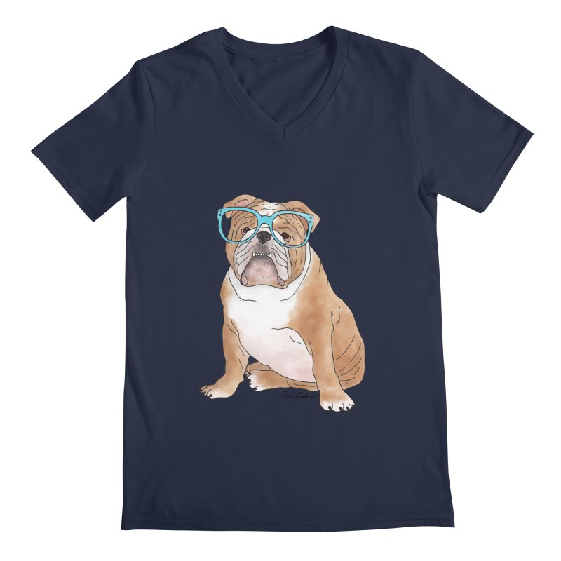 Bruiser the English Bulldog Men's Regular V-Neck by Tara Joy Andrews