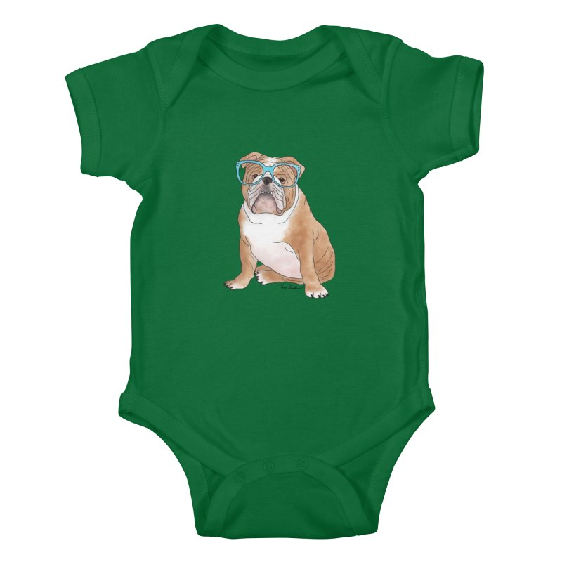 Bruiser the English Bulldog Kids Baby Bodysuit by Tara Joy Andrews
