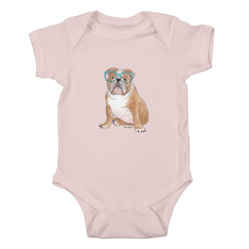 Bruiser the English Bulldog Kids Baby Bodysuit by Tara Joy Andrews