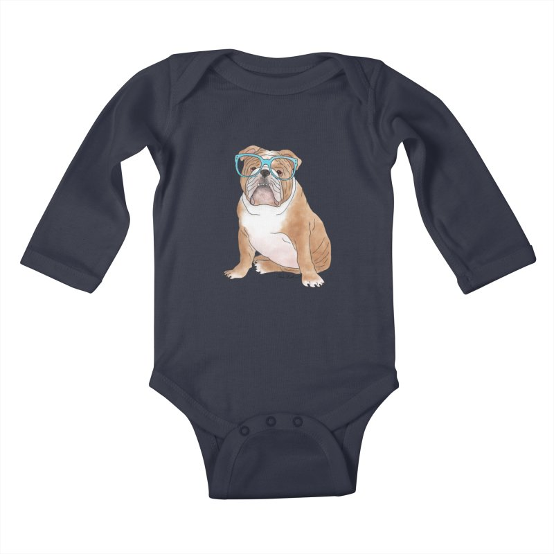 Bruiser the English Bulldog Kids Baby Longsleeve Bodysuit by Tara Joy Andrews
