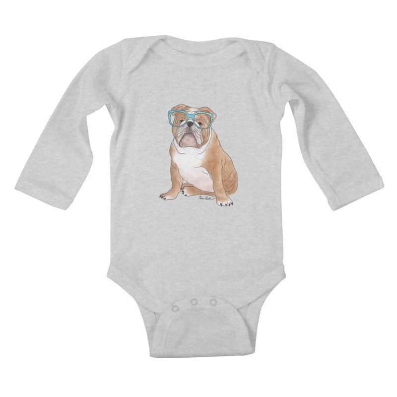Bruiser the English Bulldog Kids Baby Longsleeve Bodysuit by Tara Joy Andrews