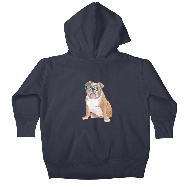 Bruiser the English Bulldog Kids Baby Zip-Up Hoody by Tara Joy Andrews