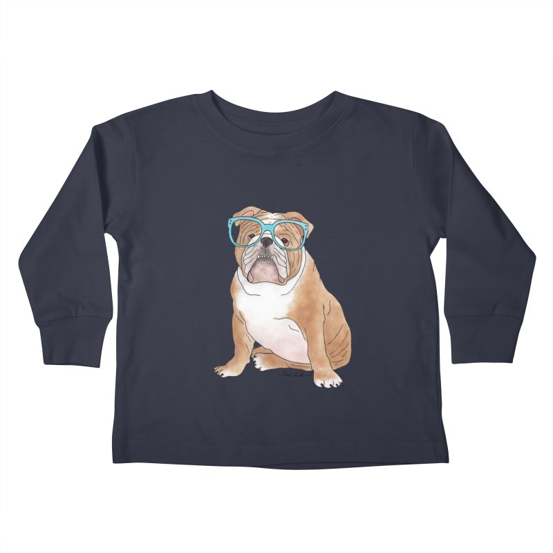 Bruiser the English Bulldog Kids Toddler Longsleeve T-Shirt by Tara Joy Andrews