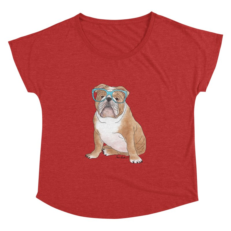 Bruiser the English Bulldog Women's Dolman Scoop Neck by Tara Joy Andrews