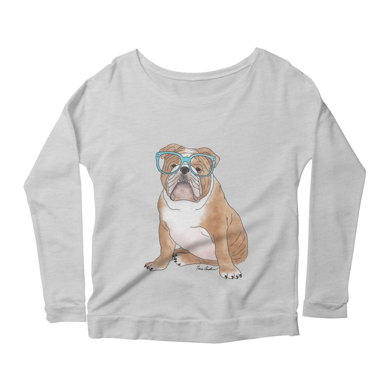 Bruiser the English Bulldog Women's Scoop Neck Longsleeve T-Shirt by Tara Joy Andrews