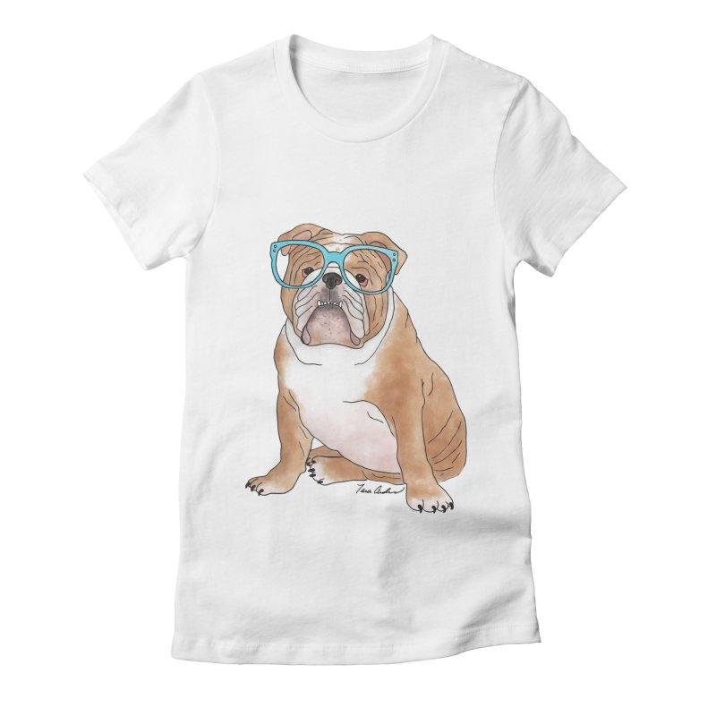 Bruiser the English Bulldog Women's Fitted T-Shirt by Tara Joy Andrews