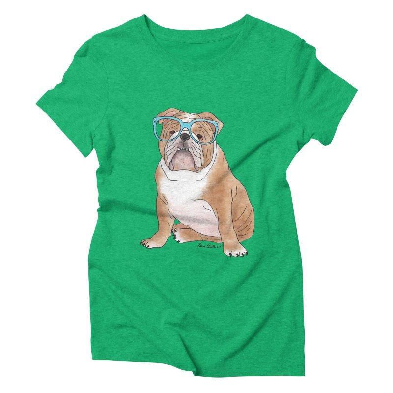 Bruiser the English Bulldog Women's Triblend T-Shirt by Tara Joy Andrews