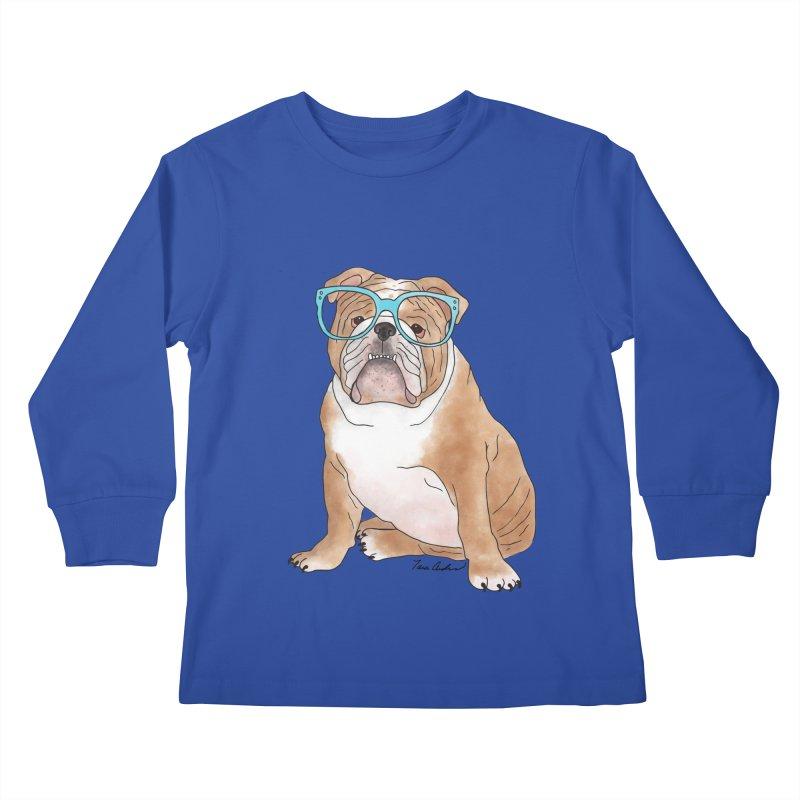 Bruiser the English Bulldog Kids Longsleeve T-Shirt by Tara Joy Andrews