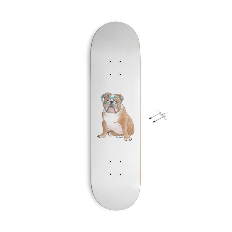 Bruiser the English Bulldog Accessories With Hanging Hardware Skateboard by Tara Joy Andrews