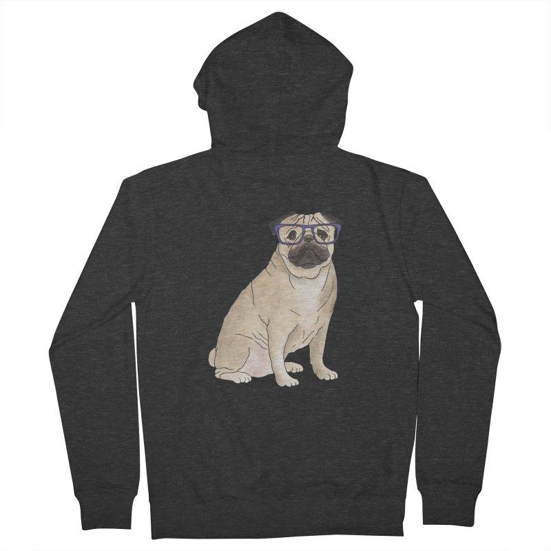 Milo the Pug Men's French Terry Zip-Up Hoody by Tara Joy Andrews
