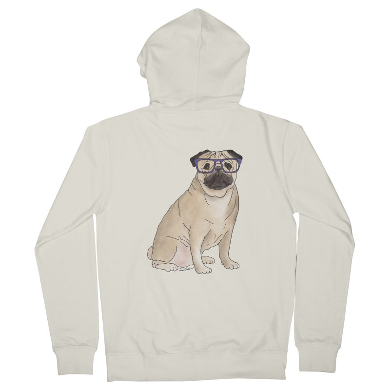 Milo the Pug Men's French Terry Zip-Up Hoody by Tara Joy Andrews