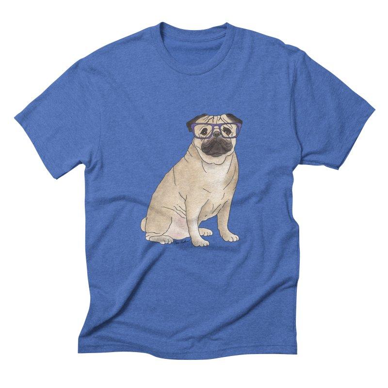 Milo the Pug Men's Triblend T-Shirt by Tara Joy Andrews