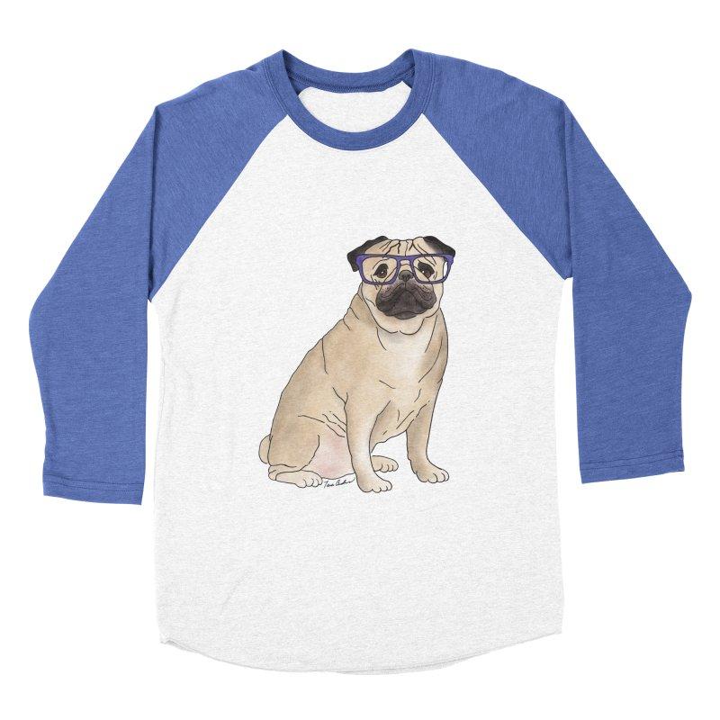 Milo the Pug Women's Baseball Triblend Longsleeve T-Shirt by Tara Joy Andrews