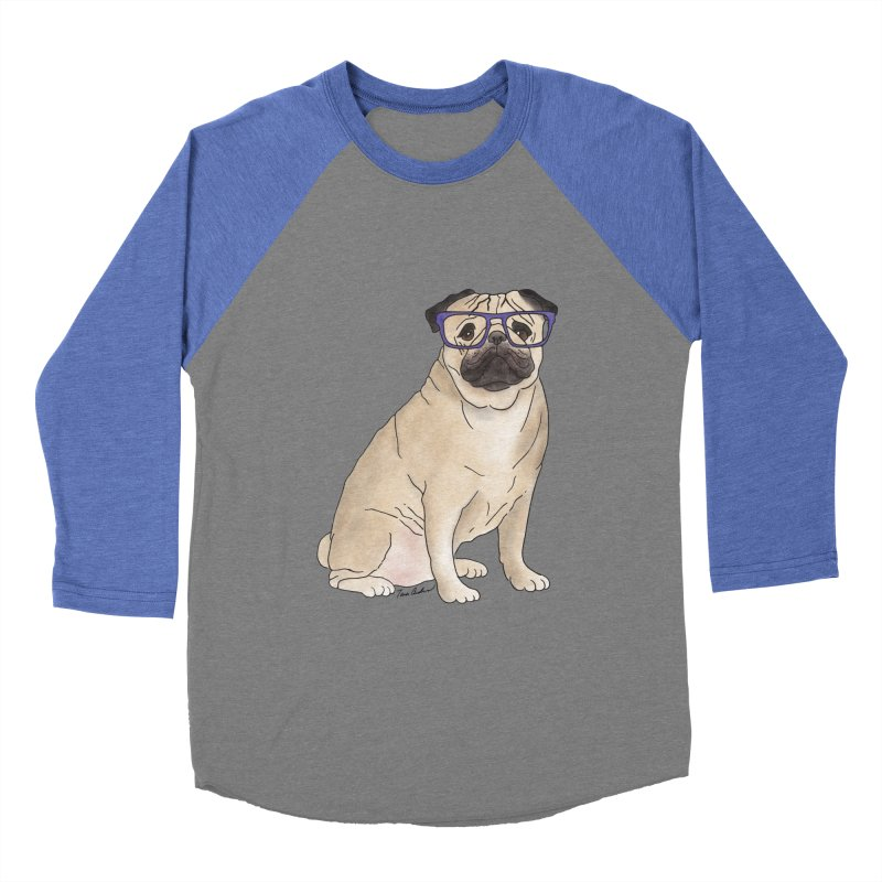 Milo the Pug Men's Baseball Triblend Longsleeve T-Shirt by Tara Joy Andrews