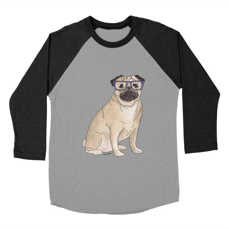 Milo the Pug Men's Baseball Triblend Longsleeve T-Shirt by Tara Joy Andrews