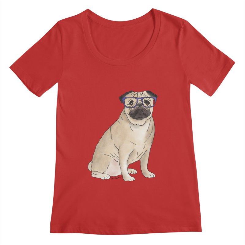 Milo the Pug Women's Regular Scoop Neck by Tara Joy Andrews