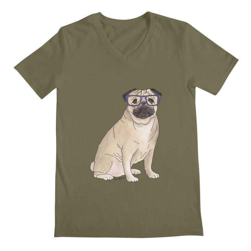 Milo the Pug Men's V-Neck by Tara Joy Andrews