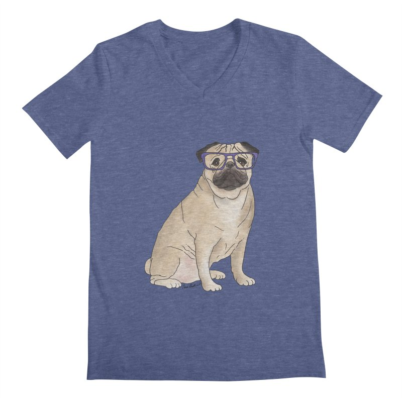 Milo the Pug Men's Regular V-Neck by Tara Joy Andrews