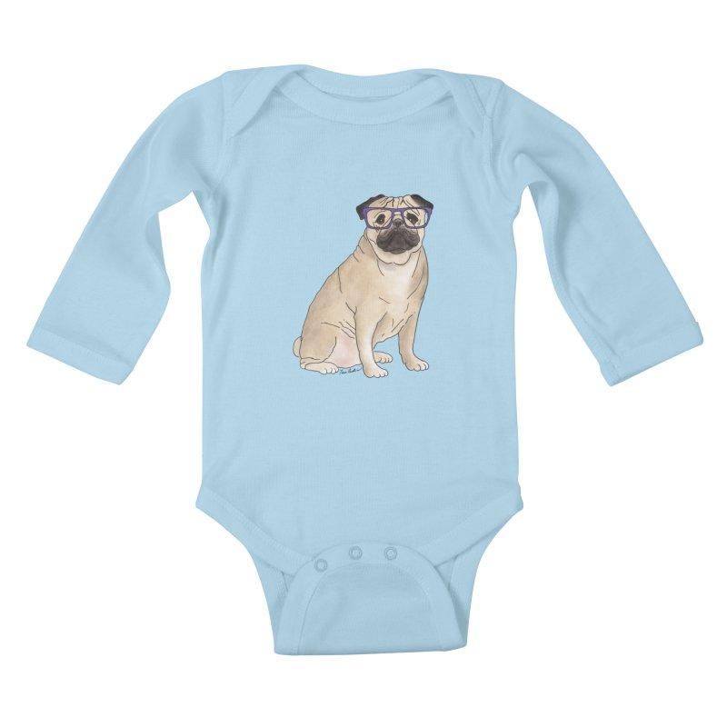 Milo the Pug Kids Baby Longsleeve Bodysuit by Tara Joy Andrews