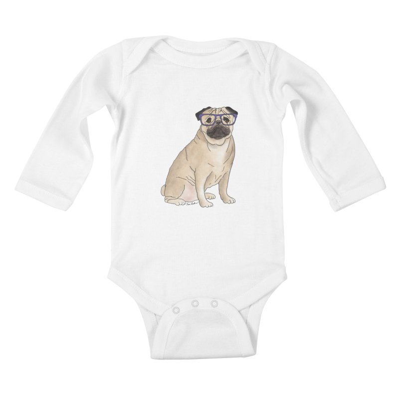 Milo the Pug Kids Baby Longsleeve Bodysuit by Tara Joy Andrews