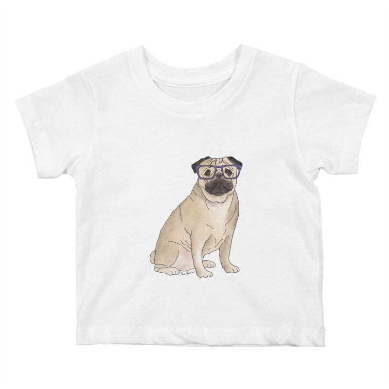 Milo the Pug Kids Baby T-Shirt by Tara Joy Andrews