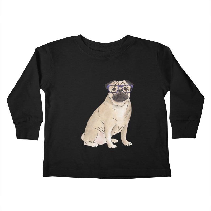 Milo the Pug Kids Toddler Longsleeve T-Shirt by Tara Joy Andrews