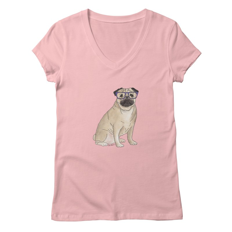 Milo the Pug Women's V-Neck by Tara Joy Andrews