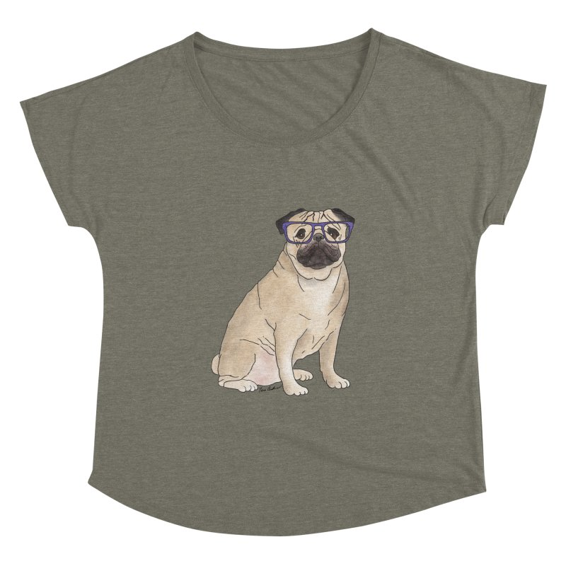 Milo the Pug Women's Dolman Scoop Neck by Tara Joy Andrews